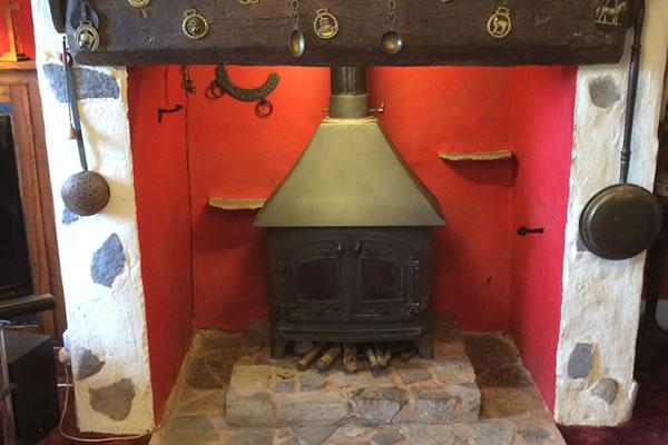 Reinstallation of 8kW woodburner in Stogumber