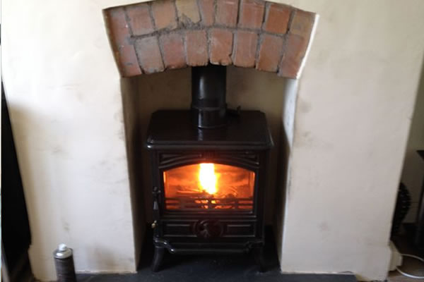 Lovely day for installation of Franco Belge Woodburner in Minehead