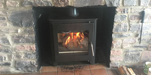 Installation of Saltfire ST1 Vision wood burning stove in Taunton