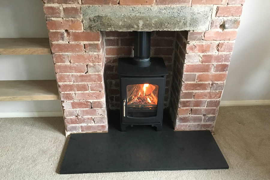 Woodburner and Slate Hearth Installation in Tiverton