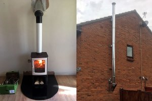 Wood Burner Installation with External Twin Wall Chimney in Minehead