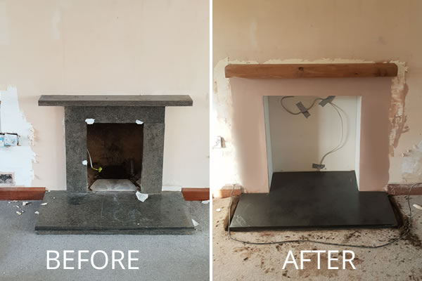 Remove Fireplace & Rebuild with Slate hearth ready for Electric Fire