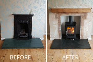 Fireplace Removal and Installation of Hearth, Oak Mantel and Woodburner in Street