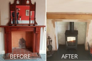 Fireplace alterations & installation of woodburner in Burnham-on-Sea