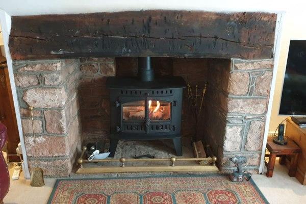 Installation of Hunter Inglenook Woodburner in Dunster on Exmoor