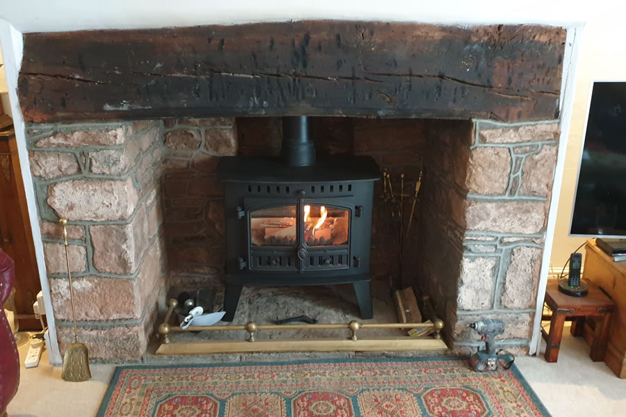 Installation of Hunter Inglenock Woodburning Stove in Dunster near Minehead