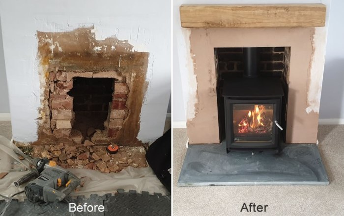 Open Up Chimney Fireplace and Install a Woodburner in Tiverton