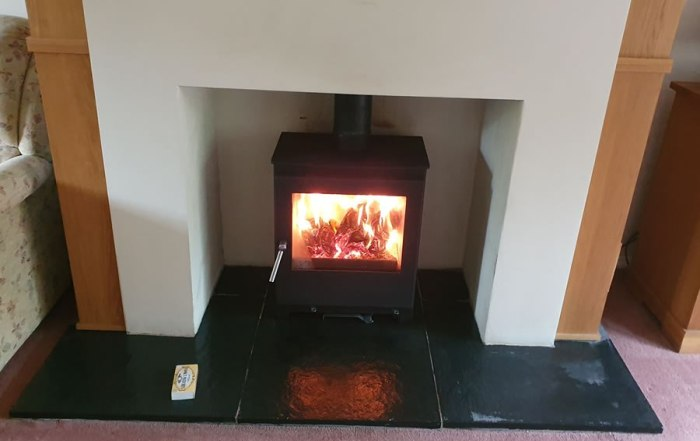 Installation of Woodford 5 Wide Woodburner in Glastonbury