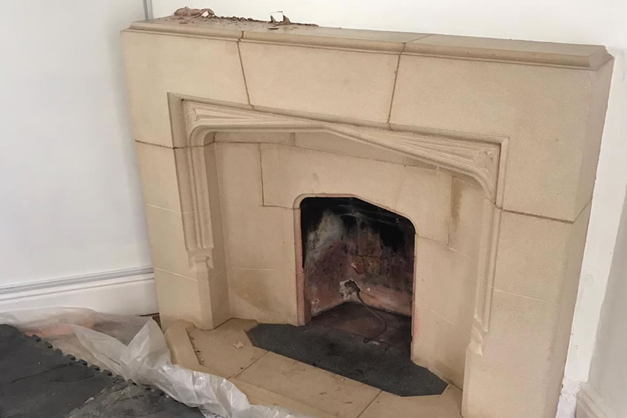 Stove fire surround before removal