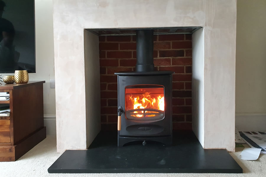 Completed Woodburner Installation with False Chimney Breast in Taunton, Somerset