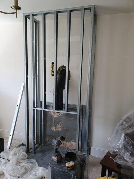 false chimney breast metal stud framework construction