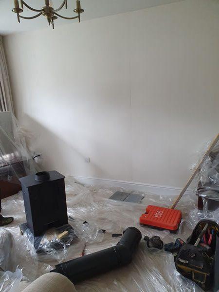 woodburner install preparation in Taunton