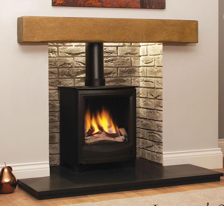 Oak effect fire resistant concrete composite mantels and beams