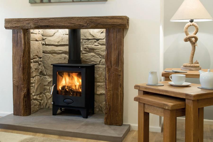 Oak effect fire resistant concrete composite mantel Branscombe