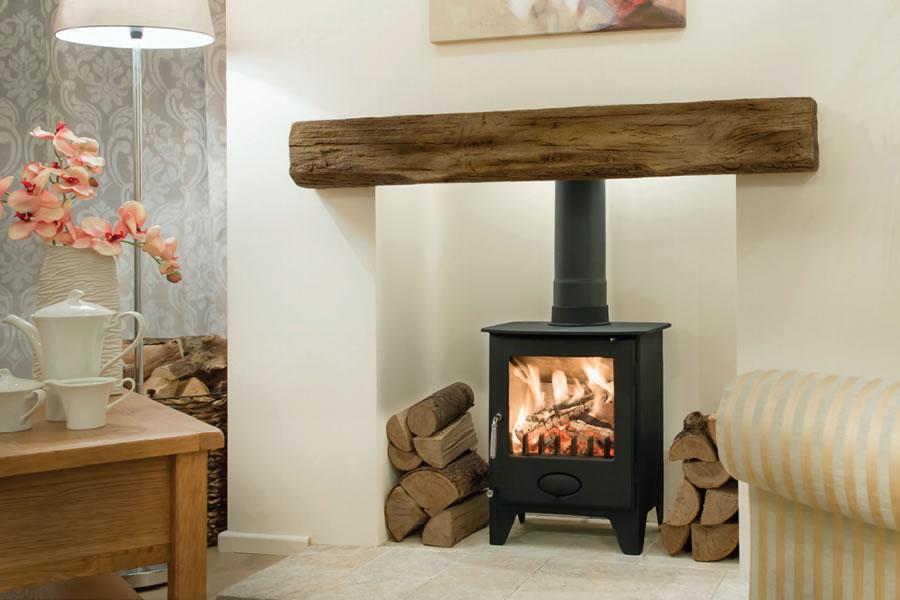 Oak effect fire resistant concrete composite mantel Covelly