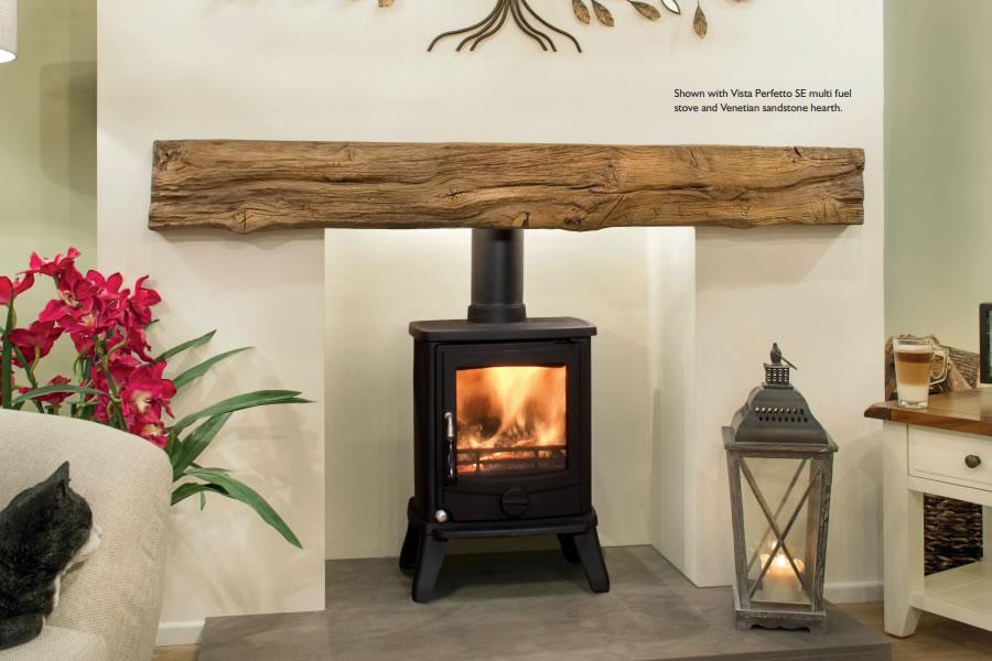 Oak effect fire resistant concrete composite mantel Dartmoor
