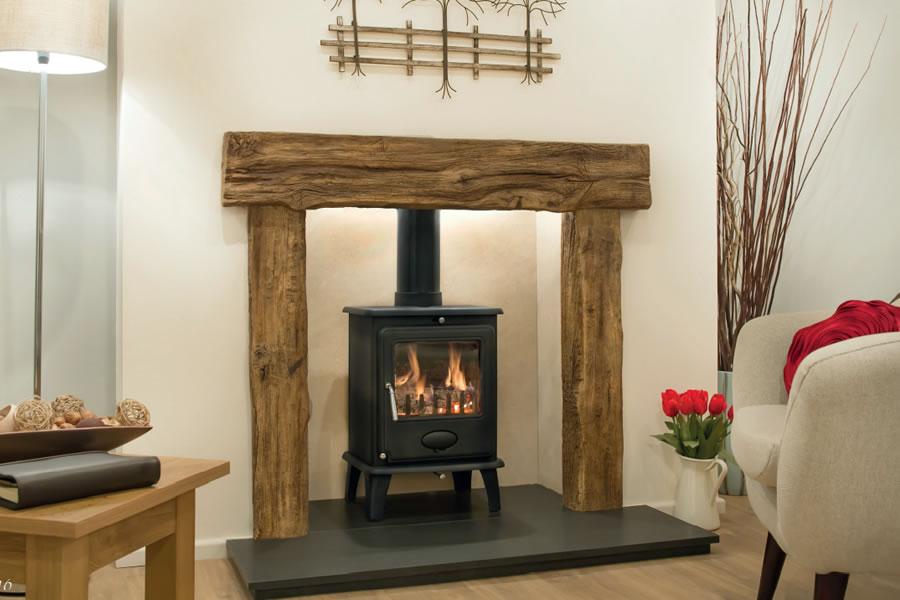 Oak effect fire resistant concrete composite mantel Exmoor