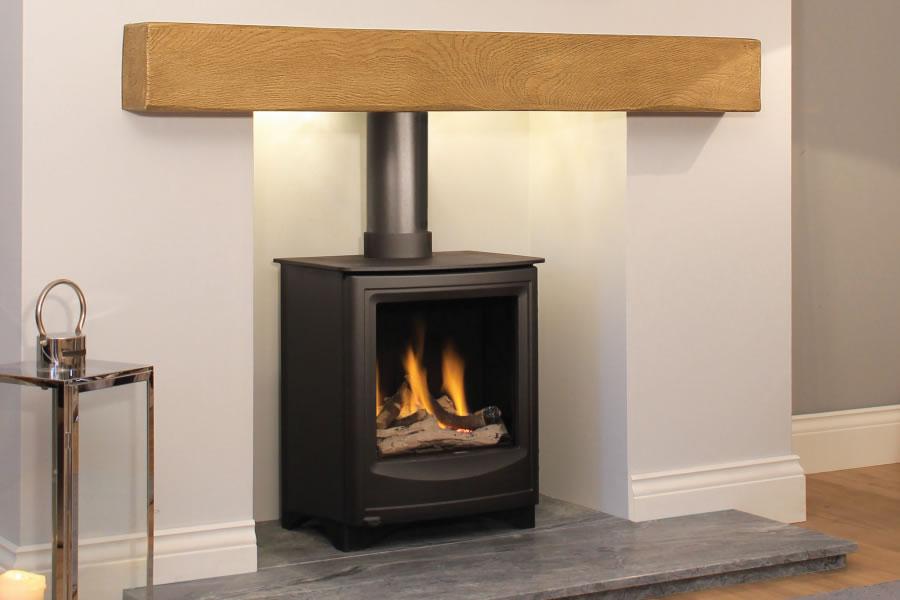 Oak effect fire resistant concrete composite mantel Telford