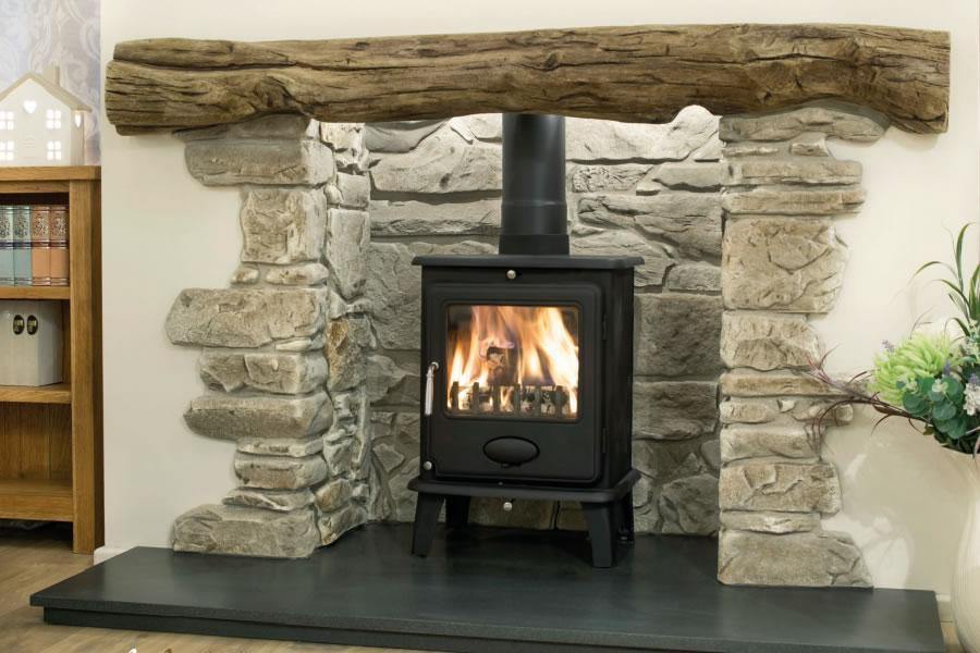 Oak effect fire resistant concrete composite mantel York