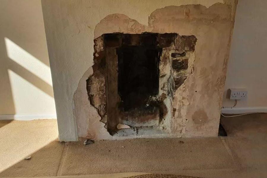 Before Fireplace Enlargement, Knockout, Renovation in Glastonbury