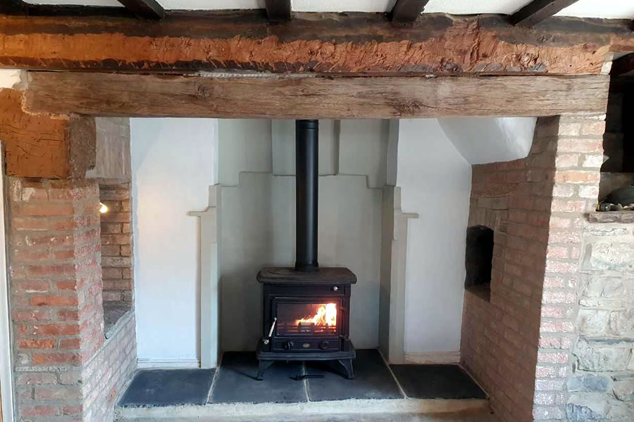 Installation of Clarke Majestic woodburner in Woolavington near Bridgwater.