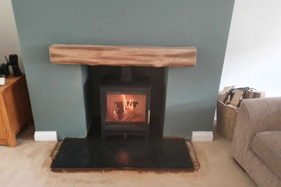 Completed installation of woodburner