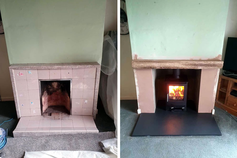 Fireplace renovation and woodburner installation in North Curry near Taunton