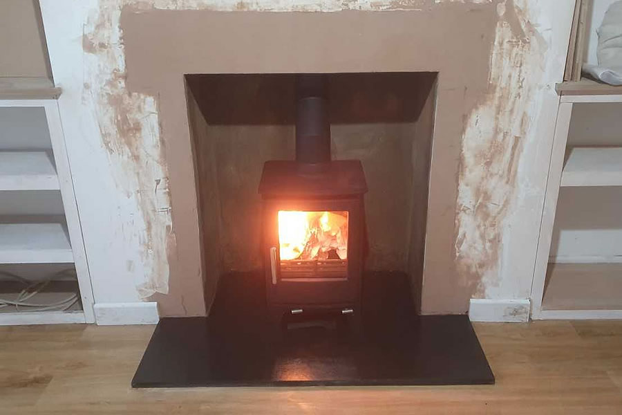 fireplace enlargement woodburner installation Burnham on Sea Somerset After