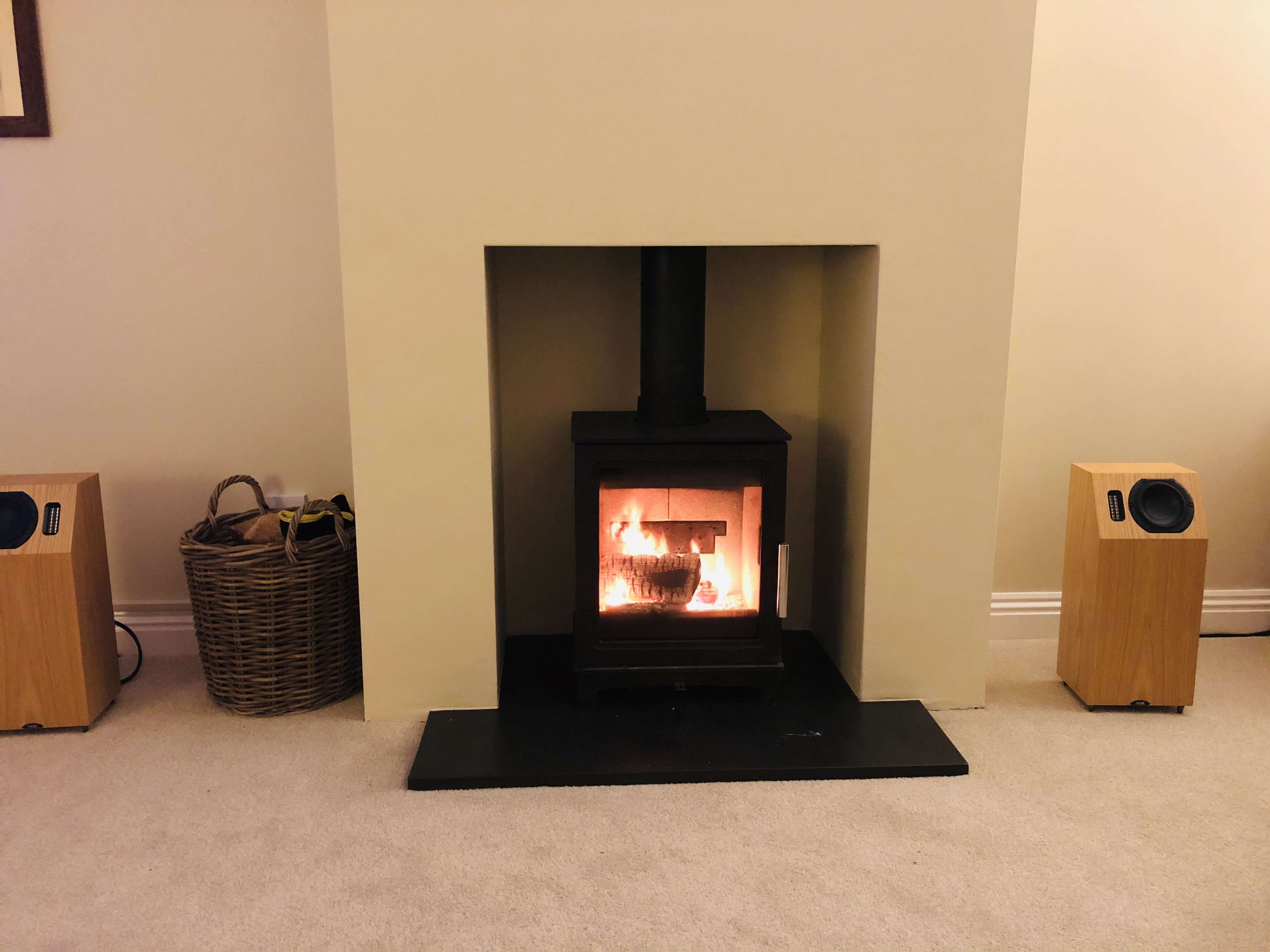Woodburner installation with False chimney breast in uffculme