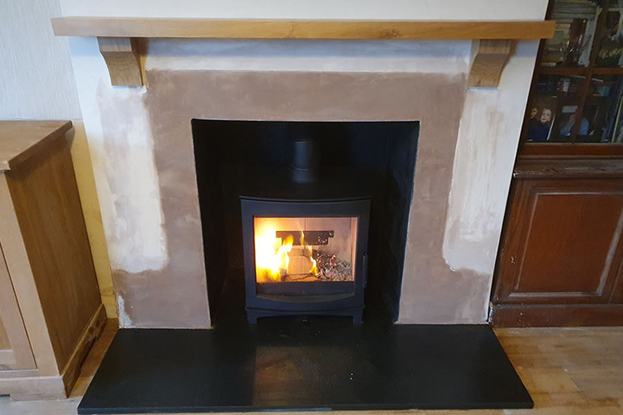 Completed fireplace renovation and woodburner installation in North Petherton