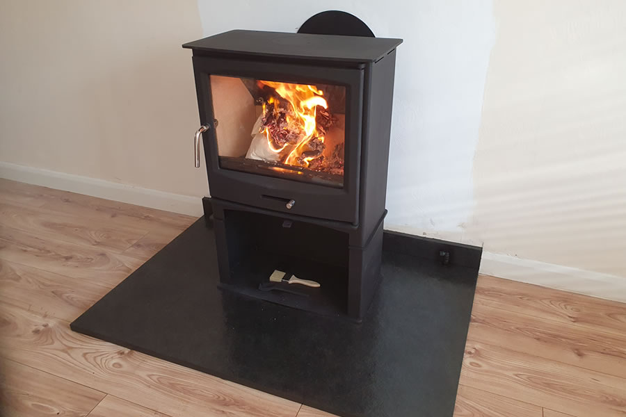 Woodburner installation with twinwall taunton