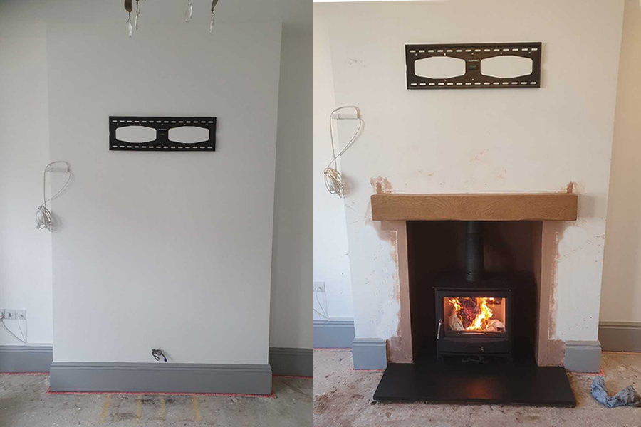 hetas chimnefireplace renovation and woodburner installation in Burnham-on-Sea