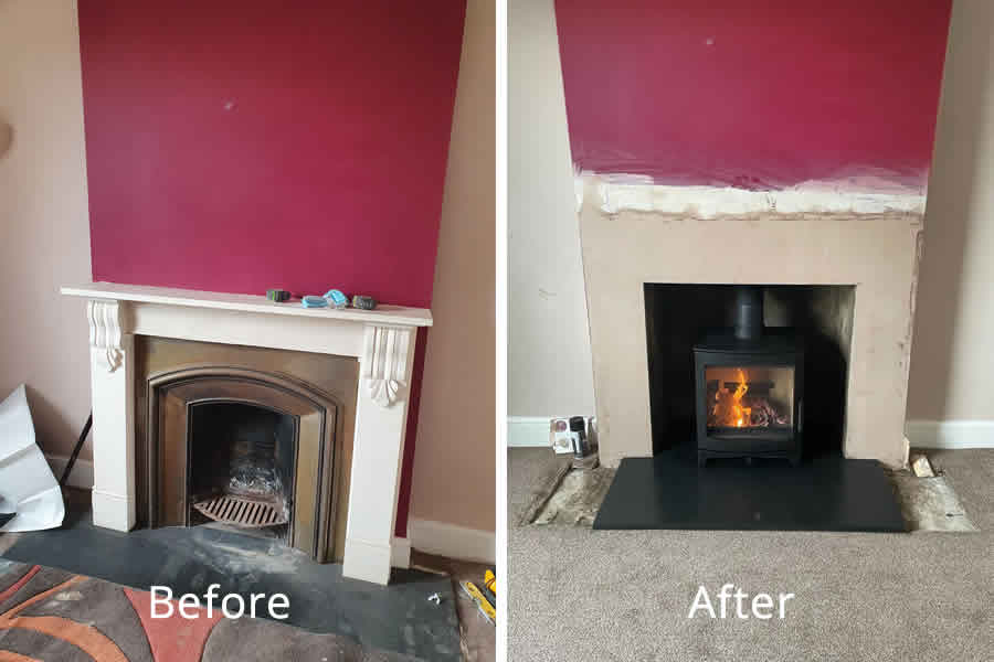 Fireplace renovation and woodburner installation in West Buckland
