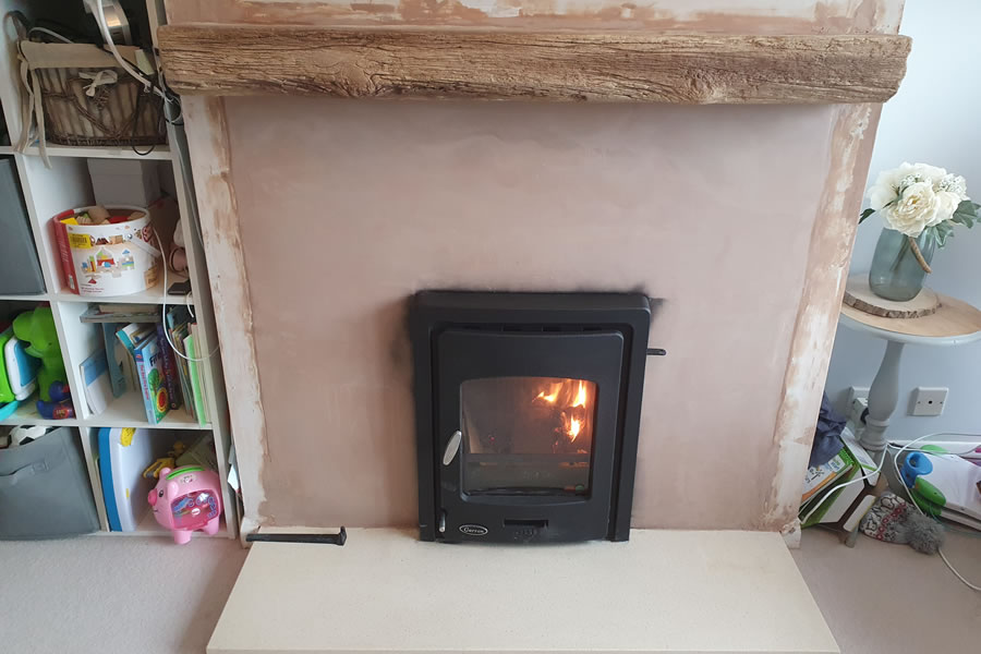 Completed inset stove woodburner installation in Exeter