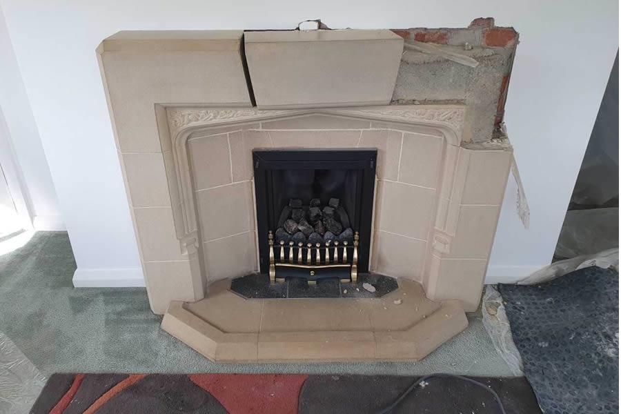 Before Fireplace renovation woodburner installation in Corfe near Taunton