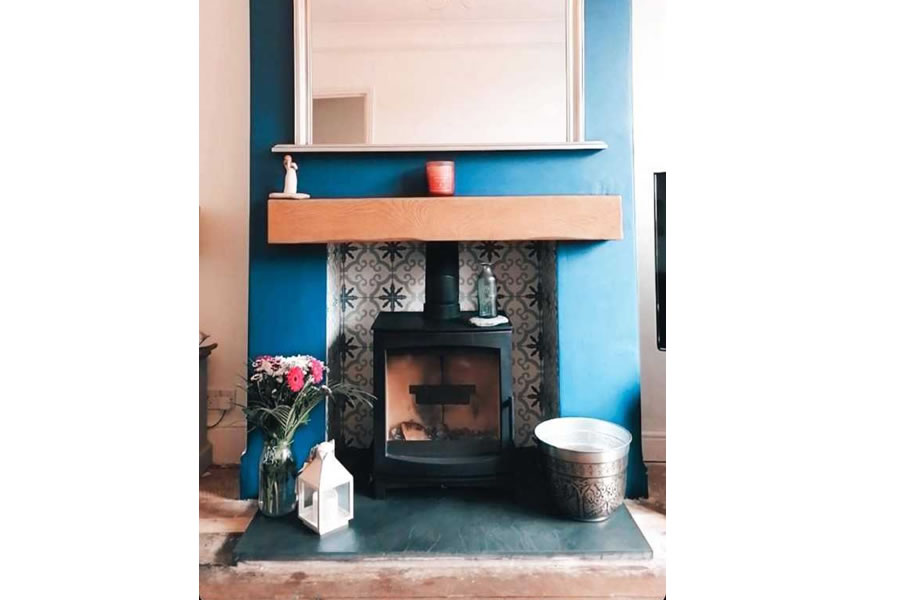 Completed fireplace renovation and woodburner installation in Taunton