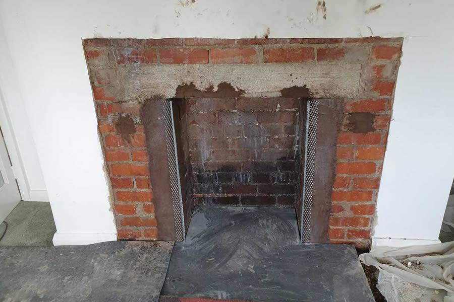 During Fireplace renovation woodburner installation in Corfe near Taunton