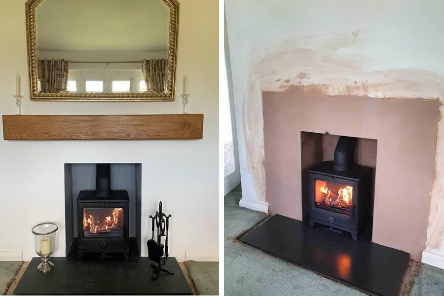 Fireplace renovation woodburner installation in Corfe near Taunton