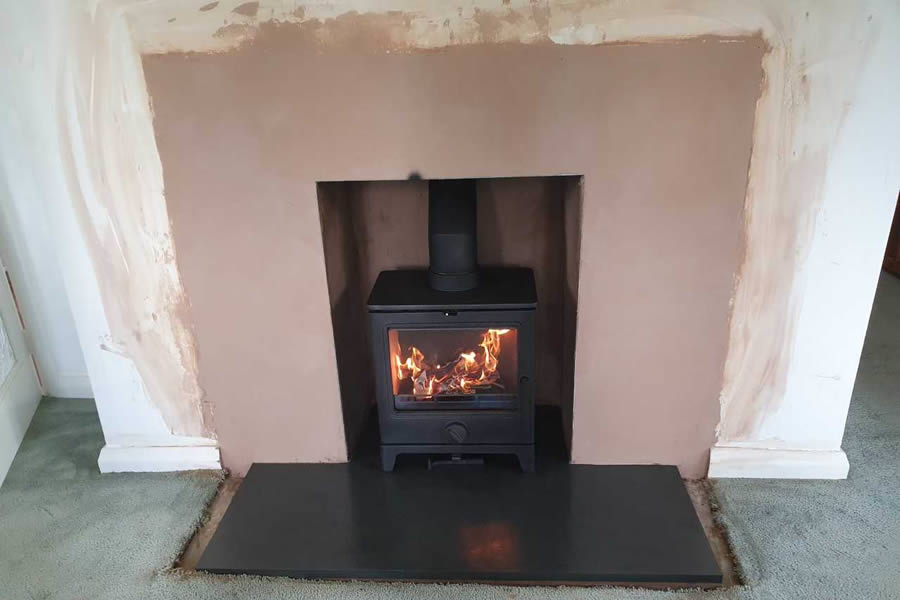 Completed Fireplace renovation woodburner installation in Corfe near Taunton